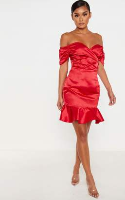 PrettyLittleThing Red Bonded Satin Bardot Wrap Front Bodycon Dress