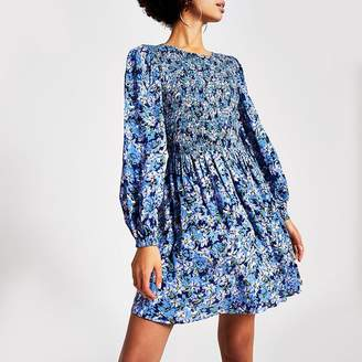 River Island Blue floral shirred long sleeve mini dress