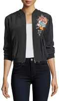 Johnny Was Alice Silk Crepe Embroidered Bomber Jacket, Plus Size