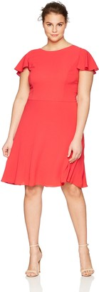 London Times Women's Plus Size Flutter Back FIT and Flare Dress