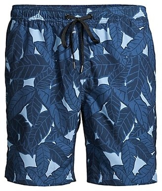 Onia Charles Leaf-Print Swim Trunks
