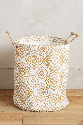 Anthropologie Watercolor Hamper Tote By in Yellow Size L