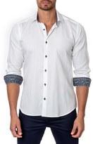 Jared Lang Men's Trim Fit Woven Jacquard Sport Shirt