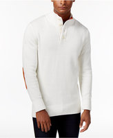 Sean John Men's Twist Button Sweater with Faux-Suede Elbow Patches