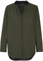 Rag & Bone Leighton Two-tone Silk-charmeuse Shirt - Army green