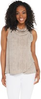 Lisa Rinna Collection Texture Print Drape Front Tank Top