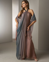 Platinum Label Gathered Ombre Halter Gown