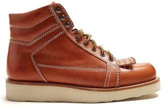 J.W.Anderson Kiltie-fringe Leather Boots - Womens - Tan