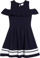 BCBGMAXAZRIA Girls Stripe Hem Cold Shoulder Dress