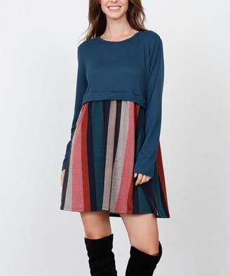Egs By Eloges egs by eloges Women's Casual Dresses TEAL - Teal & Pink Stripe-Skirt A-Line Dress - Women & Plus