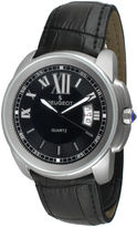 Peugeot Mens Silver-Tone Black Leather Strap Watch 2045SBK