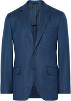 Hackett Blue London Slim-Fit Herringbone Wool Blazer