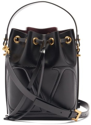 Valentino V-logo Walk Leather Bucket Bag - Black