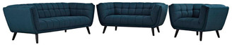 Modway Bestow 3Pc Upholstered Fabric Sofa Loveseat & Armchair Set