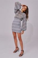 C/Meo Collective STEALING SUNSHINE LONG SLEEVE DRESS black check