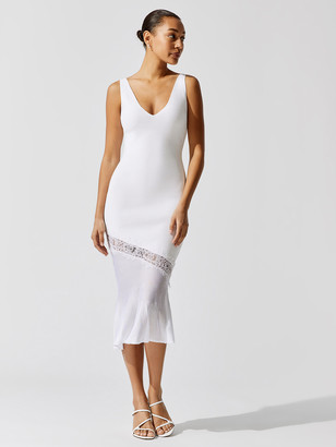 Cushnie Sleeveless V Neck Knit Dress With Lace Detail