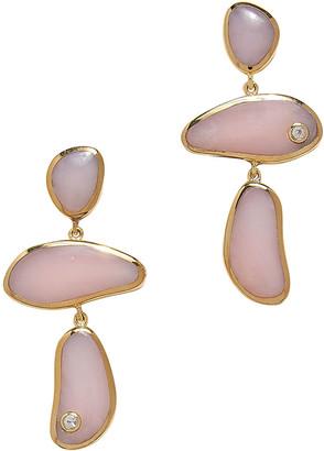 Pamela Love Francesca Pink Opal Three-Drop Earrings