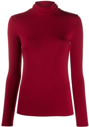 Majestic Filatures Roll Neck Stretch Knit Top