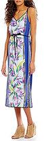 Tommy Bahama Bird Of Paradise Sleeveless Self-Tie Waist Midi Dress