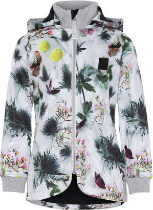 Molo Girl's Hillary Floral Print Waterproof Soft Shell Hooded Jacket, Size 4-12