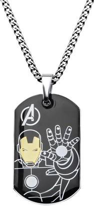 """Marvel Comics Men's Stainless Steel Ironman Dog Tag Chain Pendant Necklace 24"""""""