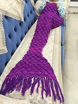 "LAGHCAT Knitted Fabric Mermaid Blanket and Mermaid tail Blanket crochet with Scales Pattern Adult/children, Sleeping Bags.70.2""x35.46""(180CMX90CM)Purple"