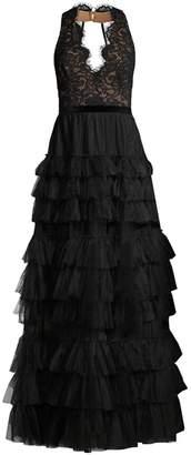 BCBGMAXAZRIA Long Tiered Tulle Evening Dress