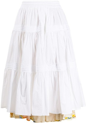 Maison Flaneur Contrast-Panel Tiered Skirt