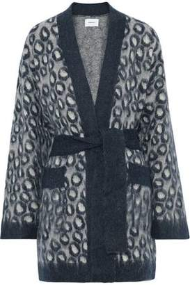 Current/Elliott The Rick Leopard-print Brushed-knitted Cardigan