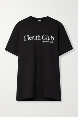 Sporty & Rich Printed Cotton-jersey T-shirt - Black