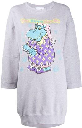 Moschino Hippo graphic print sweatshirt dress