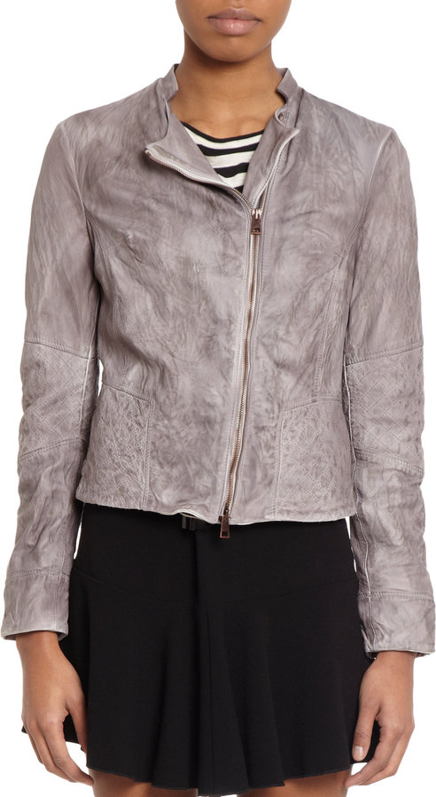Barneys New York Faded Quilted Panels Leather Jacket