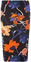 Dorothy Perkins Black And Cobalt Abstract Print Pencil Skirt
