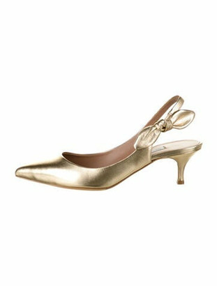 Tabitha Simmons Leather Bow Accents Slingback Pumps Gold