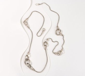 "JAI Sterling Silver Balance & Harmony 36"" Link Box Chain Necklace"