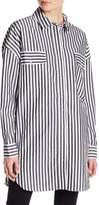 KENDALL + KYLIE Kendall & Kylie Oversized Stripe Flap Pocket Shirt