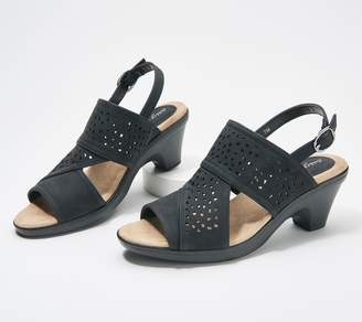 Easy Street Shoes Perforated Block Heeled Sandals - Charleigh