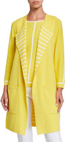 Joan Vass Plus Size Contrast Stripe Long Two Pocket Sweater Vest