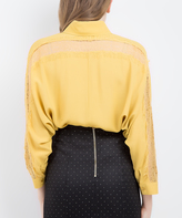 BGN Bright Gold Lace-Accent Button-Up