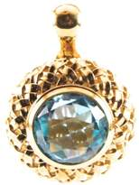 Slane & Slane Slane 18K Yellow Gold Plated Sterling Silver Basketweave Blue Topaz Pendant