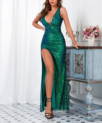 Vicky and Lucas Women's Special Occasion Dresses Green - Green Sequin Double-V Side-Slit Gown - Women