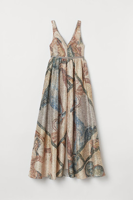 H&M Mosaic-patterned Long Dress - Beige