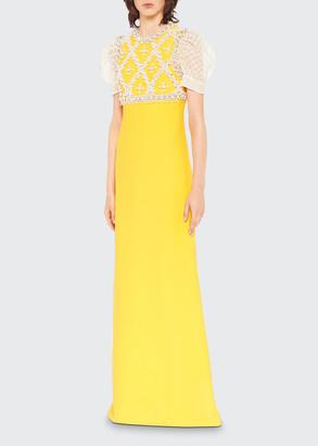 Miu Miu Long Embroidered Cady Dress