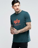 Alpha Industries T-shirt With Logo In Regular Fit Petrol