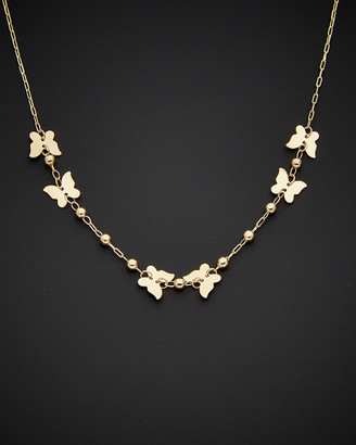 Italian Gold 14K Extender Beaded Butterfly Necklace