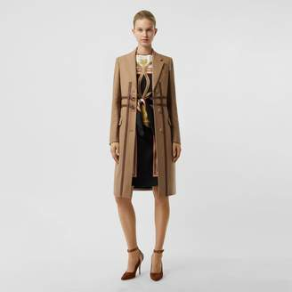 Burberry Leather Harness Detail Wool Tailored Coat