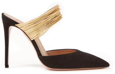 Aquazzura Rendez Vous 105 Suede Mules - Womens - Black Gold