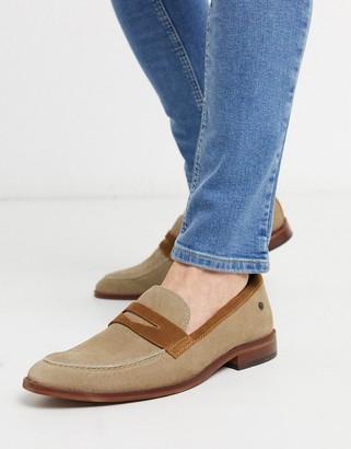 Base London lense penny loafers in beige suede
