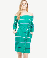 Ann Taylor Off The Shoulder Striped Poplin Dress