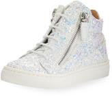 Giuseppe Zanotti Mattglitt Hitop Glitter High-Top Sneakers, Baby/Toddler Sizes 6M-9T